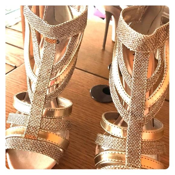 Qupid Shoes - Champagne Glitter Heels